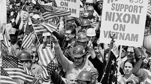 """Construction workers in lower Manhattan show support for President Richard Nixon and the Vietnam War before attacking protestors during the """"Hard Hat Riots"""" of 1970. Courtesy of Media Education Foundation."""