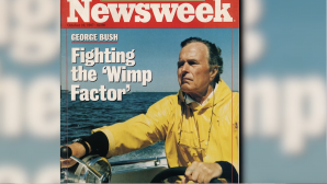 Newsweek magazine cover of Republican presidential candidate George WH Bush, Oct. 19, 1987. Courtesy of Media Education Foundation.