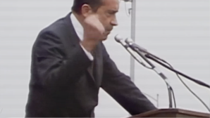 Republican presidential nominee Richard Nixon campaigns on a law-and-order platform in 1968. Courtesy of Media Education Foundation.