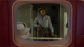 """Ronald Reagan plays a US Marshall in the 1953 Hollywood western """"Law and Order."""" Courtesy of Media Education Foundation."""