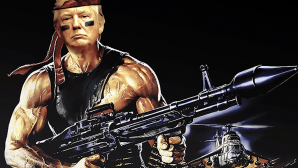 Flag depicting President Donald Trump as Rambo. Courtesy of Media Education Foundation.